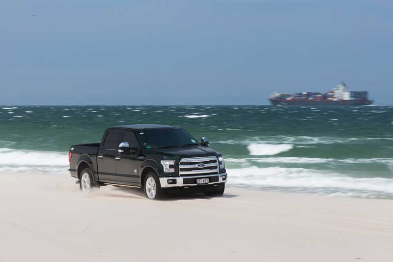 Ford F150 on beach